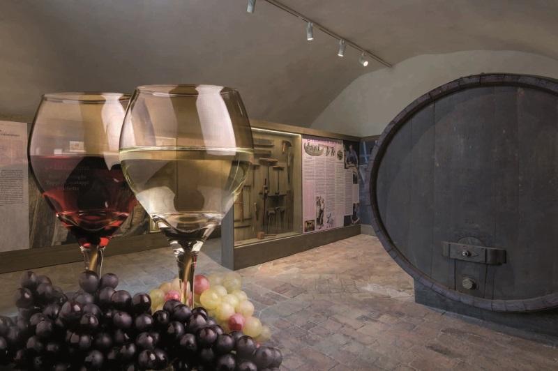 La sala delle botti del Museo del Vino, nelle cantine della Rocca