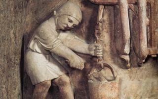 Benedetto Antelami, Preparazione dei salumi nella formella dell'Acquario, particolare (Parma, Battistero)