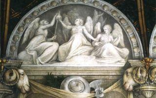 Antonio Allegri, il Correggio, lunetta dipinta con le tre Parche e vasellame da tavola (Parma, Camera di San Paolo)