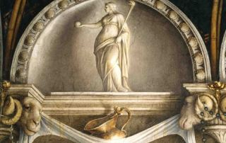 Antonio Allegri, il Correggio, lunetta dipinta con Vestale e vasellame da tavola (Parma, Camera di San Paolo)