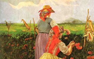Daniele de Strobel, La raccolta del pomodoro, 1925 (Parma, Sede centrale Cariparma-Crédit Agricole)
